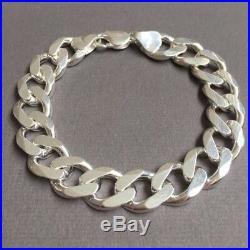 925 Sterling Silver Mens Solid Cuban Curb Link Chain Bracelet 13mm 56GR 9Inch