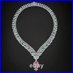 925 Sterling Silver Pink Oval Highend Handmade Party Solid Necklace for Women