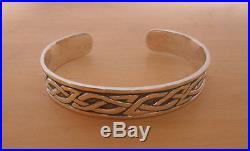 925 Sterling Silver Solid CELTIC Heraldic Design Infinity Knot Bangle Bracelet