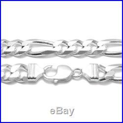 925 Sterling Silver Solid Figaro Link Men's Chain Necklace 11mm (300 Gauge)