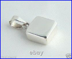 925 Sterling Silver Solid Flat Plain Square TAG Pendant Charm ID Engrave GIFT BN