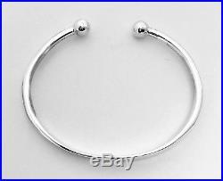 925 Sterling Silver Solid ID Identity Torque Bangle Bracelet Cir. Is 21 cm / 8