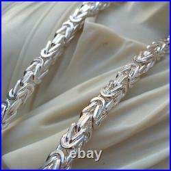 925 Sterling Silver Solid Men Byzantine Kings Chain Necklace 6.5mm 22 inch 129GR