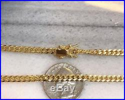925 Sterling Silver Solid Miami Cuban Curb Link Chain Necklace Yellow Gold 5mm