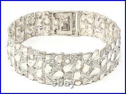 925 Sterling Silver Solid Nugget Bracelet 9 21mm 57 grams