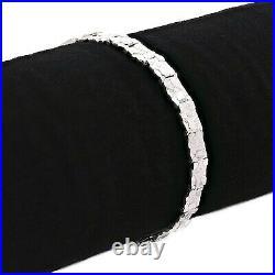 925 Sterling Silver Solid Nugget Bracelet Adjustable 7.5-8 6.75mm 13.5 grams