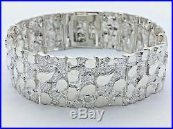 925 Sterling Silver Solid Nugget Bracelet Adjustable 8 21.5mm 51.3 grams