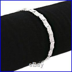 925 Sterling Silver Solid Nugget Bracelet Adjustable 8 6.75mm 14 grams