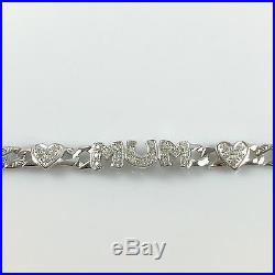 925 Sterling Silver Solid Women Mum Bracelet Curb Chain Hallmarked 7.5 inches
