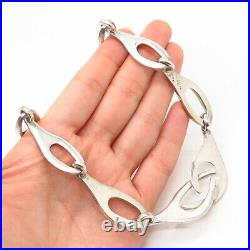 925 Sterling Silver Vintage Mexico Solid Modernist Design Chain Necklace 16