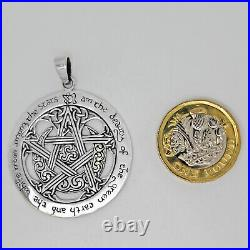 925 solid Sterling Silver Pentagram Wicca with the Charge of the Goddess pendant