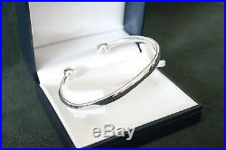 925 solid Sterling Silver mens 30g torque ball end bangle free quality gift box