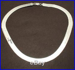 9mm All Shiny Herringbone Chain Necklace Solid 925 Sterling Silver made in ITALY