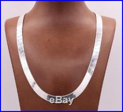 9mm Flexible Herringbone Chain Necklace Real Solid Sterling Silver 925 Italy