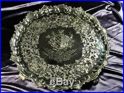 AN IMPORTANT PAUL STORR, GLADSTONE, SOLID SILVER PRESENTATION SALVER 228 Ozs