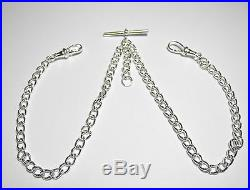 Albert Chain Solid Sterling Silver Pocket Watch Double Curb Made in UK FA47