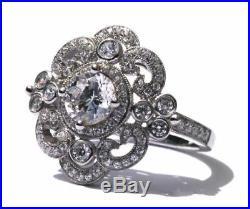 Antique 2 Ct Round Cut Moissanite Art Deco Promise Solid Vintage Engagement Ring