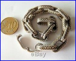 Antique Art Deco Solid Silver Sterling Bracelet Ancien En Argent Massif Minerve