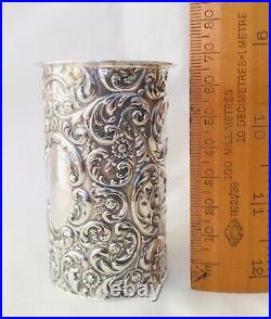 Antique Edwardian Solid Sterling Silver Repousse Spill Holder, Sheffield, 1902