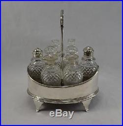 Antique George III Solid Sterling Silver Six Bottle Cruet Stand John Emes 1802