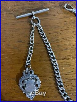 Antique Solid Sterling Silver Albert Pocket Watch Chain & Fob