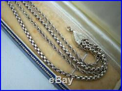Antique Solid Sterling Silver Albertina Chain Watch Tassel Bracelet 9 Rare
