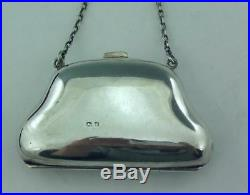 Antique Solid Sterling Silver & Guilloche Enamel Purse