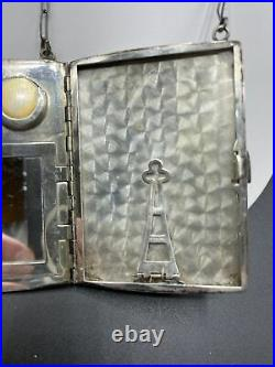 Antique Victorian Sterling Silver Compact Case Coin Wallet/Mirror Solid Sterling