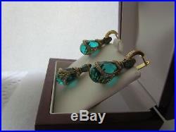 Aquamarine Earrings & Pendant Set Handmade Russian Solid Sterling Silver 925