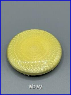 Art Deco 1930 Solid Sterling Silver & Yellow Guilloche Enamel Compact London
