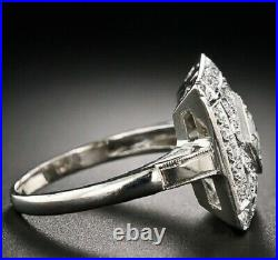 Art Deco Ring Vintage Style Solid 925 Sterling Silver Jewelry For Women White