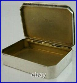 Art Deco Solid Sterling Silver Snuff Box 1914 English Antique
