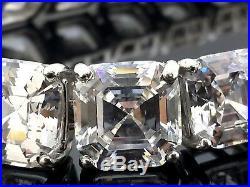Asscher collar tennis necklace solid 925 Sterling Silver Cz wedding fine jewelry
