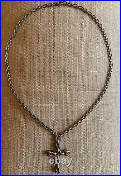 Authentic Gucci Unisex Necklace Aged Sterling Silver Marina Cross Pendant Chain