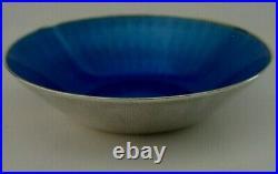 BEAUTIFUL SOLID STERLING SILVER BLUE ENAMEL DISH c1960s DAVID ANDERSEN NORWAY
