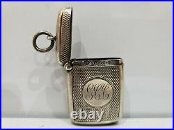 BIRMINGHAM 1903 Antique Solid Sterling Silver Vesta Match Safe / Case / Vintage