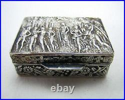 Beautiful Italian Vintage 1977 Solid Sterling SILVER Pill Snuff Pocket Box Case