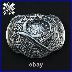 Belt buckle Jormungand, Ouroboros solid 925 Sterling Silver belt buckle