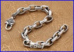 Big 925 Sterling Tibetan Solid Silver Six Words Symbol Link Dorje Chain Bracelet