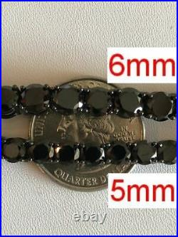 Black Diamond Tennis Chain SOLID 925 Sterling Silver Single Row ICY Mens 3-6mm