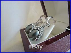 Black Pearl Earrings Handmade Russian Solid Sterling Silver 925