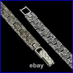 Bracelet Green Emerald Genuine Gem Solid Sterling Silver Tiger Design 7 1/4 Inch
