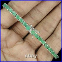Bracelet Green Emerald Genuine Natural Gems Solid Sterling Silver 7 Inch