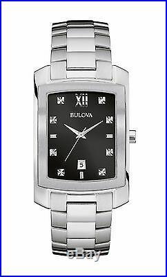 Bulova Diamonds Men's 96D125 Quartz Black Dial Silver-Tone Bracelet 31mm Watch