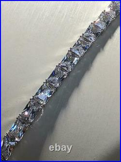 CZ BIG Chain SHINE ICED 925 SOLID Sterling Silver ICE Necklace 22 5mm 52GR NEW