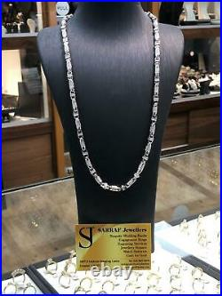 CZ BLOCK CHAIN 925 SOLID Sterling Silver HEAVY SILVER Necklace 32 5mm NEW