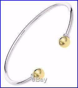 Cape Cod Jewelry Solid 925 Sterling Silver and 14k Gold 2 Ball Cuff Bracelet 7.5