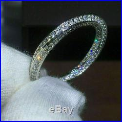 Certified 1.00Ct Diamond Eternity Band Solid 14K White Gold Over Engagement Ring