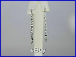 Certified 2.30Ct Inside-Out Diamond Hoop Dangle Earrings Solid 14k White Gold FN