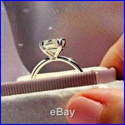 Certified 2.85Ct Cushion Moissanite Engagement Ring Solid 14K White Gold Finish